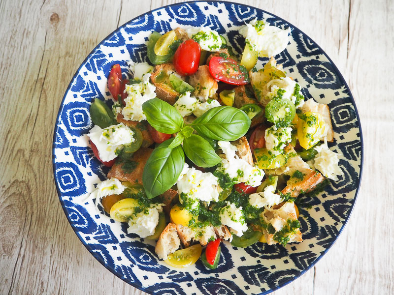 Panzanella Salad with Mozzarella & Basil Oil