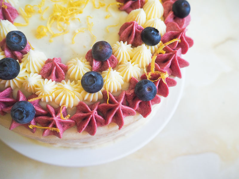 Blueberry and lemon cake food blogger